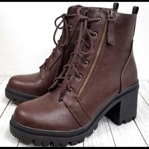Soda Shoes - Soda Brown Combat Boots Lace Up Boots 10